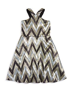 Flowers by Zoe Girls' Zigzag Sequined Metallic Jersey Dress - Big Kid