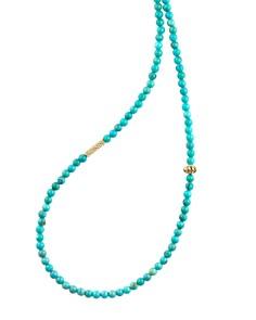 "LAGOS - 18K Gold Single Strand Caviar Icon Station Necklace, 34"""