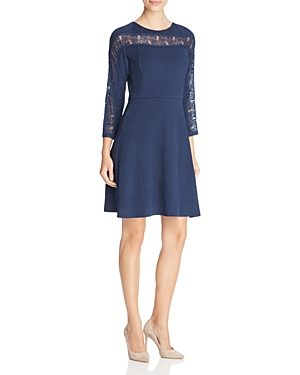 Finity Lace Inset Fit-and-Flare Dress
