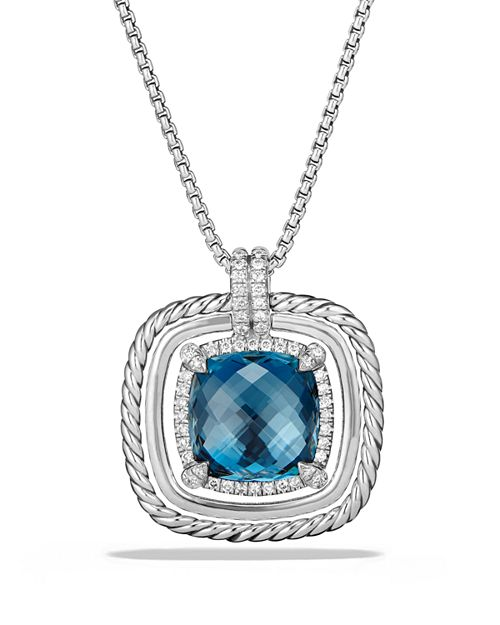 David Yurman - Châtelaine Pavé Bezel Necklace with Hampton Blue Topaz and Diamonds