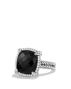 David Yurman - Sterling Silver Châtelaine Pavé Bezel Ring with Diamonds & Gemstones, 14mm