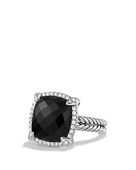 David Yurman - Sterling Silver Châtelaine Pavé Bezel Ring with Diamonds & Gemstones, 14mm