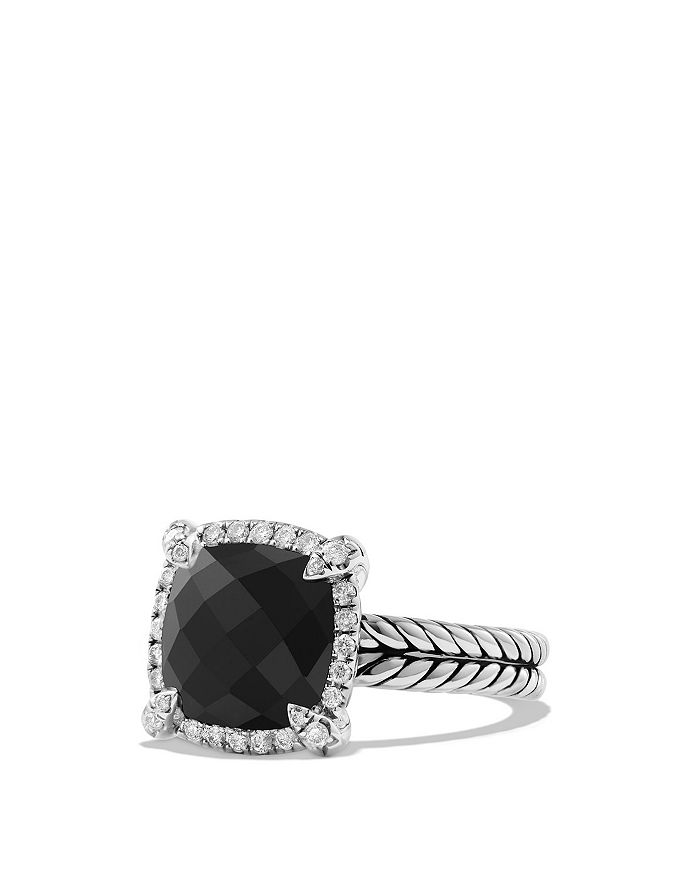 David Yurman - Sterling Silver Châtelaine Pavé Bezel Ring with Diamonds & Gemstones, 9-11mm