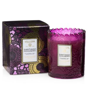 Voluspa Japonica Santiago Huckleberry Embossed Glass Scalloped Edge Candle