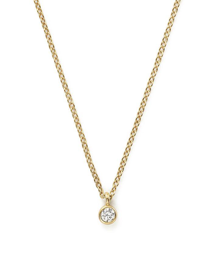 """Zoë Chicco - 14K Yellow Gold Bezel Diamond Necklace, 14"""""""