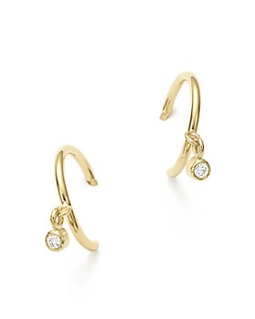 Zoë Chicco - 14K Yellow Gold Tiny Huggie Hoop Earrings with Dangling Diamonds
