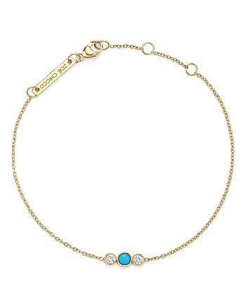 Zoë Chicco - 14K Yellow Gold Bracelet with Bezel Set Turquoise and Diamonds