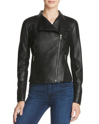 MARC NEW YORK Felix Best Seller Asymmetric-Zip Leather Moto Jacket in Black