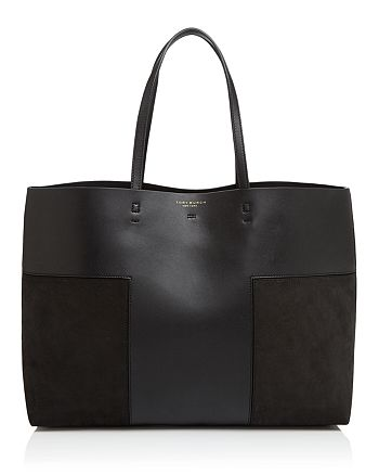 Tory Burch - Block-T Leather and Suede Tote