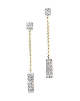 Meira T - 14K Yellow and White Gold Diamond Rectangle Dangle Earrings