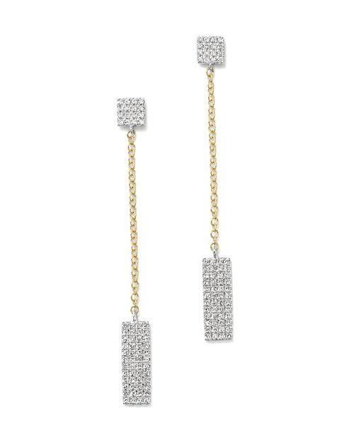 Meira T - 14K Yellow and White Gold Diamond Rectangle Dangle Earrings