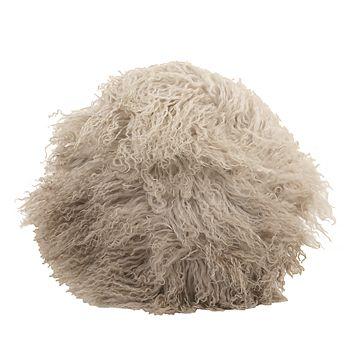 "Bloomingville - Round Tibetan Lamb Fur Pillow, 14"" x 14"""