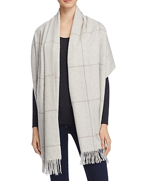 C By Bloomingdales Glen Plaid Cashmere Woven Wrap Scarf - 100% Exclusive
