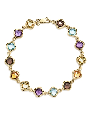 Multicolored Gemstone Large Clover Bracelet in 14K Yellow Gold - 100% Exclusive