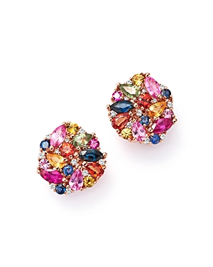 Multi Sapphire and Diamond Cluster Earrings in 14K Rose Gold - 100% Exclusive