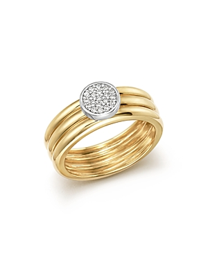 Diamond Pave Three Band Ring in 14K White and Yellow Gold, .12 ct. t.w. - 100% Exclusive