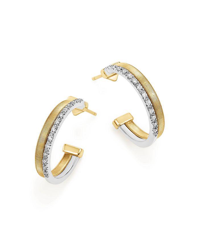 Marco Bicego - 18K Yellow & White Gold Masai Two Row Pavé Diamond Hoop Earrings