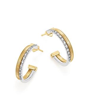 Marco Bicego 18K Yellow & White Gold Masai Two Row Pave Diamond Hoop Earrings