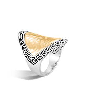 JOHN HARDY - 18K Yellow Gold and Sterling Silver Classic Chain Saddle Ring