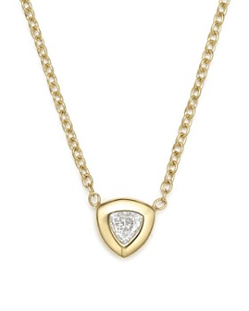 Zoë Chicco - 14K Yellow Gold Pendant Necklace with Trillion Diamond, 14""