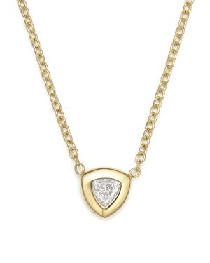 Zoe Chicco 14K Yellow Gold Pendant Necklace with Trillion Diamond, 14