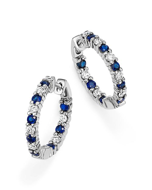 Bloomingdale's - Blue Sapphire and Diamond Inside Out Hoop Earrings in 14K White Gold - 100% Exclusive