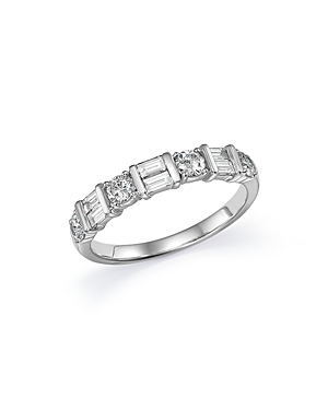 Round and Baguette Diamond Bar Band in 14K White Gold, .75 ct. t.w. - 100% Exclusive