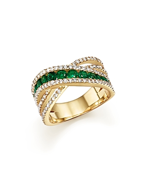Emerald and Diamond Crisscross Ring in 14K Yellow Gold - 100% Exclusive
