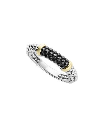 LAGOS - Black Caviar Ceramic 18K Gold and Sterling Silver 2 Station Stacking Ring