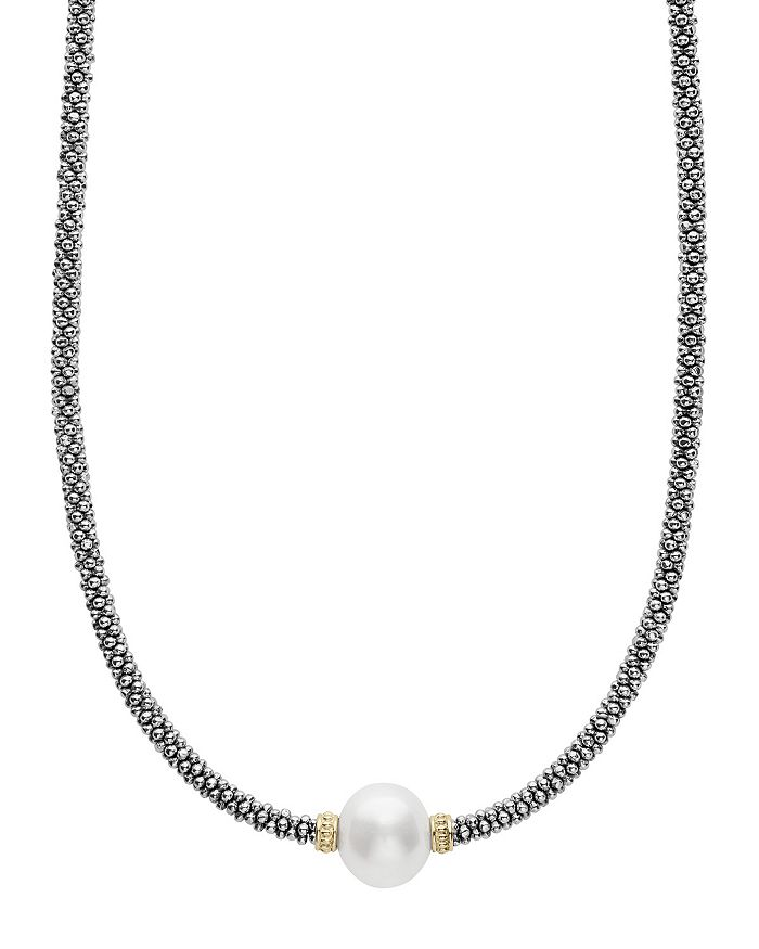 """LAGOS - 18K Gold and Sterling Silver Luna Rope Necklace with Cultured Freshwater Pearl, 16"""""""