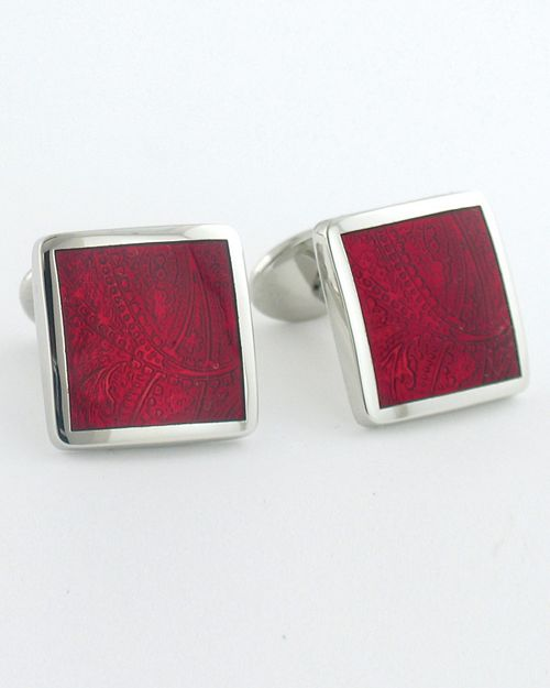 David Donahue - Sterling Paisley Red Cuff links