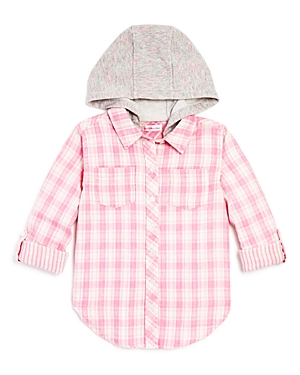 Design History Girls Hooded Plaid ButtonDown Shirt  Big Kid