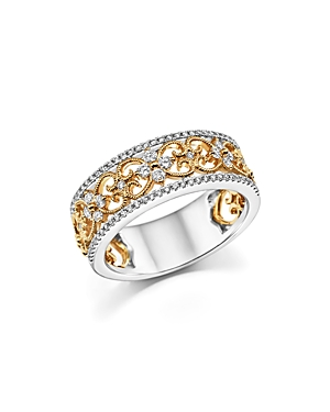Diamond Band in 14K White and Yellow Gold, .12 ct. t.w - 100% Exclusive