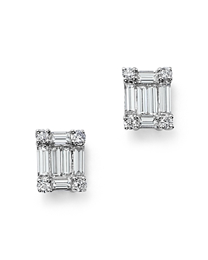 Diamond Round and Baguette Stud Earrings in 14K White Gold, .75 ct. t.w. - 100% Exclusive
