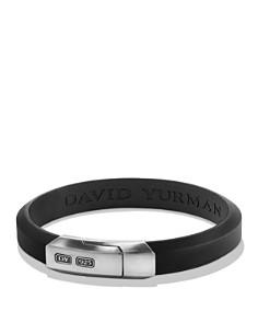 David Yurman - Streamline Black Rubber ID Bracelet in Sterling Silver