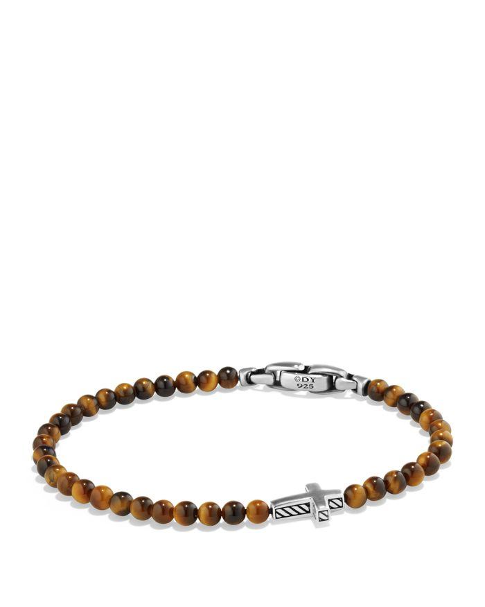 David Yurman Spiritual Beads Cross Bracelet with Tiger's Eye in Sterling Silver    Bloomingdale's