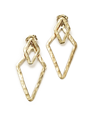 14K Yellow Gold Hammered Front-Back Triangle Earrings - 100% Exclusive
