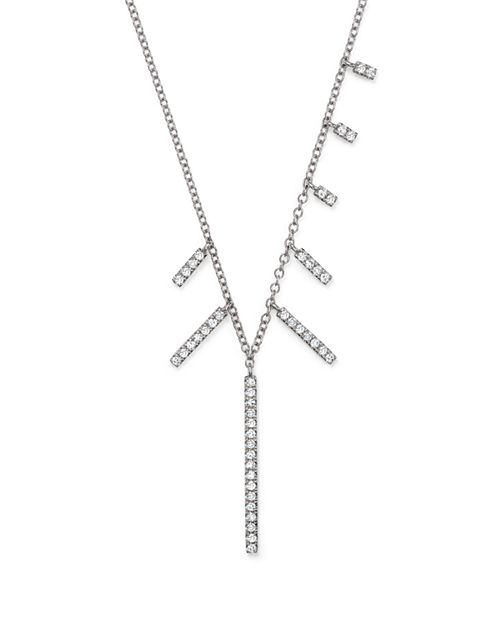 "Meira T - 14K White Gold Multi-Diamond Bar Dangle Necklace, 16"""