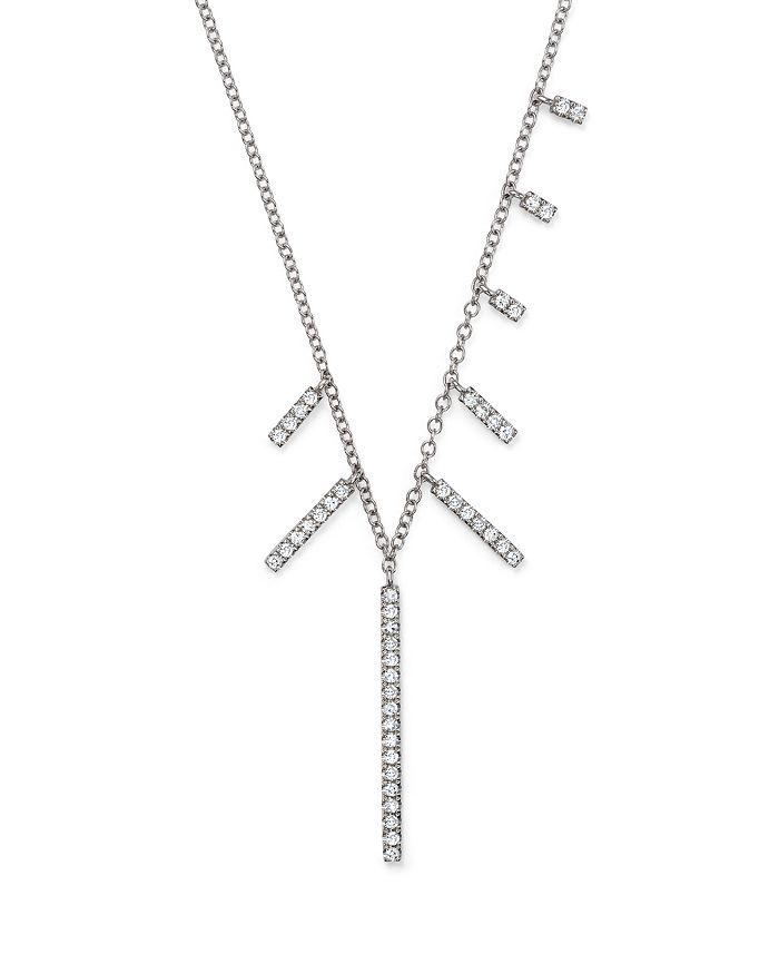 c557ec421cfc4 14K White Gold Multi-Diamond Bar Dangle Necklace, 16