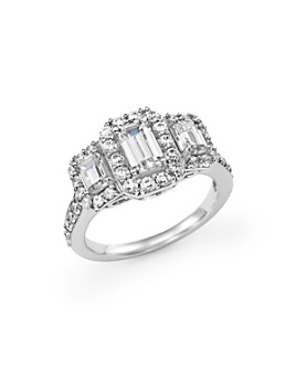 Bloomingdale's - Emerald-Cut Diamond Three Stone Engagement Ring in 14K White Gold, 2.0 ct. t.w.- 100% Exclusive