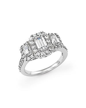 Click here for Emerald-Cut Diamond Three Stone Engagement Ring in... prices