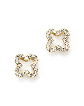 Bloomingdale's - Diamond Clover Stud Earrings in 14K Yellow Gold, .20 ct. t.w. - 100% Exclusive