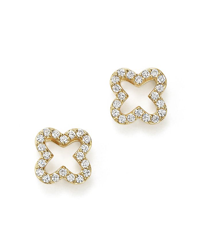 Bloomingdale's - Diamond Clover Stud Earrings in 14K Yellow Gold, .20 ct. t.w.  - 100% Exclusive