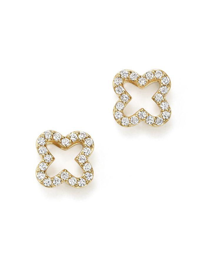 Bloomingdale's Diamond Clover Stud Earrings in 14K Yellow Gold, .20 ct. t.w. - 100% Exclusive  | Bloomingdale's
