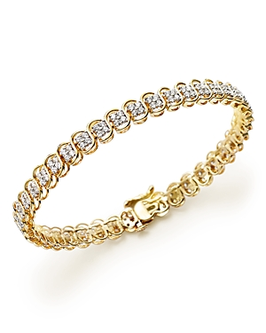 Diamond Cluster Bracelet in 14K Yellow Gold, 3.0 ct. t.w. - 100% Exclusive