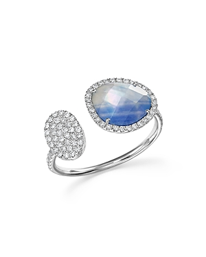 Meira T 14K White Gold Sapphire and Moonstone Doublet Open Ring with Diamonds