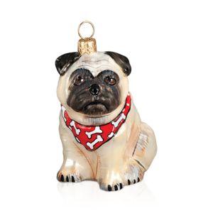 Joy to the World Pug Fawn with Bandana Ornament