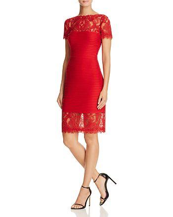 Tadashi Shoji - Lace Detail Pintucked Dress - 100% Exclusive