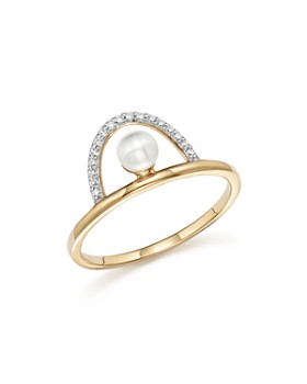 MATEO - 14K Yellow Gold Cultured Freshwater Pearl and Diamond Arc Ring