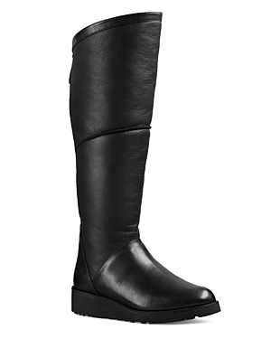 Ugg Kendi Sheepskin and Leather Wedge Tall Boots